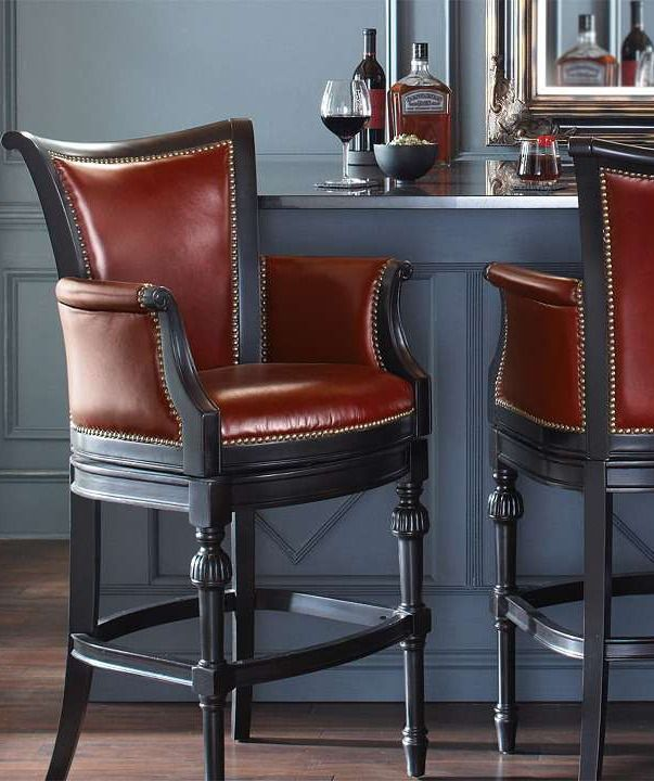 30'' High Cherry Wood Barstool with Arms and Black Leather