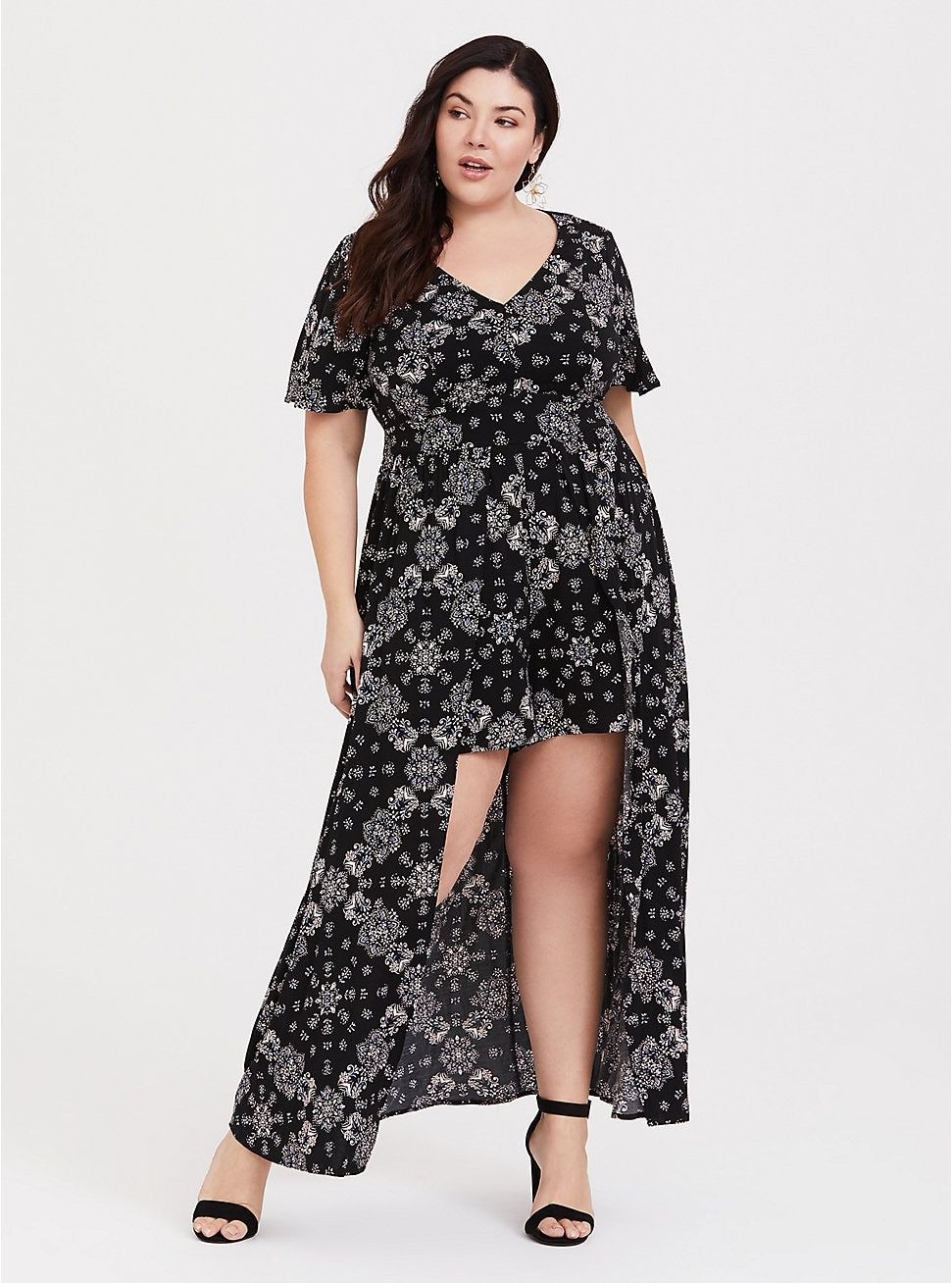 e5d3172a2d8 Black Mandala Walk Through Romper. Plus Size Black Mandala Overskirt Romper