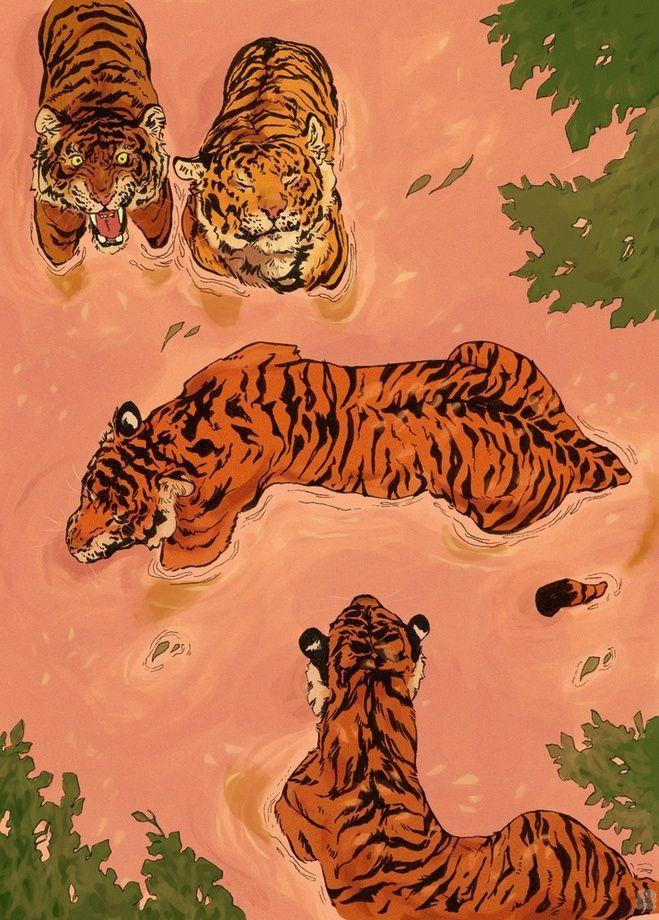 Tiger Beach, an art print by Vincent Cecil