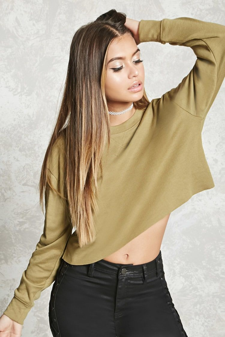 ea101c3745f375 Heathered Cropped Sweatshirt - Women - Sweaters - 2000226084 - Forever 21  Canada English