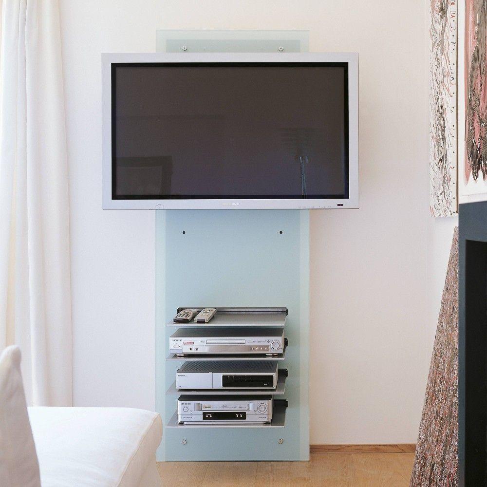 Porta Tv Cristallo Design.Mobile Porta Tv Da Parete William In Cristallo Con Ripiani Mobile