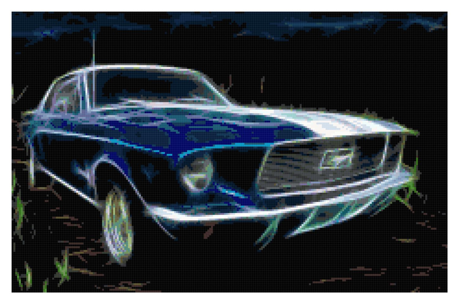 Ford mustang fractal cross stitch pattern instant download pdf by kustomcrossstitch on etsy
