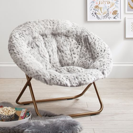 Beautiful Gray Leopard Faux Fur Hang A Round Chair