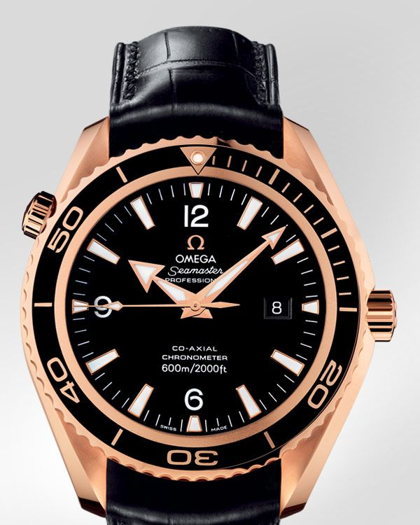 OMEGA Watches: Seamaster Planet Ocean Big Size - Red gold on leather strap - 222.63.46.20.01.001