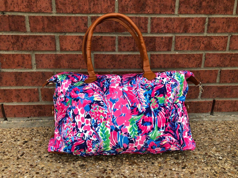 Monogrammed Gift Monogrammed Luggage Monogrammed Lilly Inspired Weekender Monogrammed Overnight Bag
