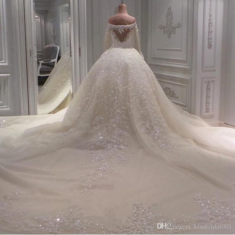 New Sweetheart Luxury Beading Wedding Dress Long Sleeve Appliques Dresses Cathedral In 2020 Beaded Wedding Dress Ball Gown Wedding Dresses Beaded Luxury Wedding Dress