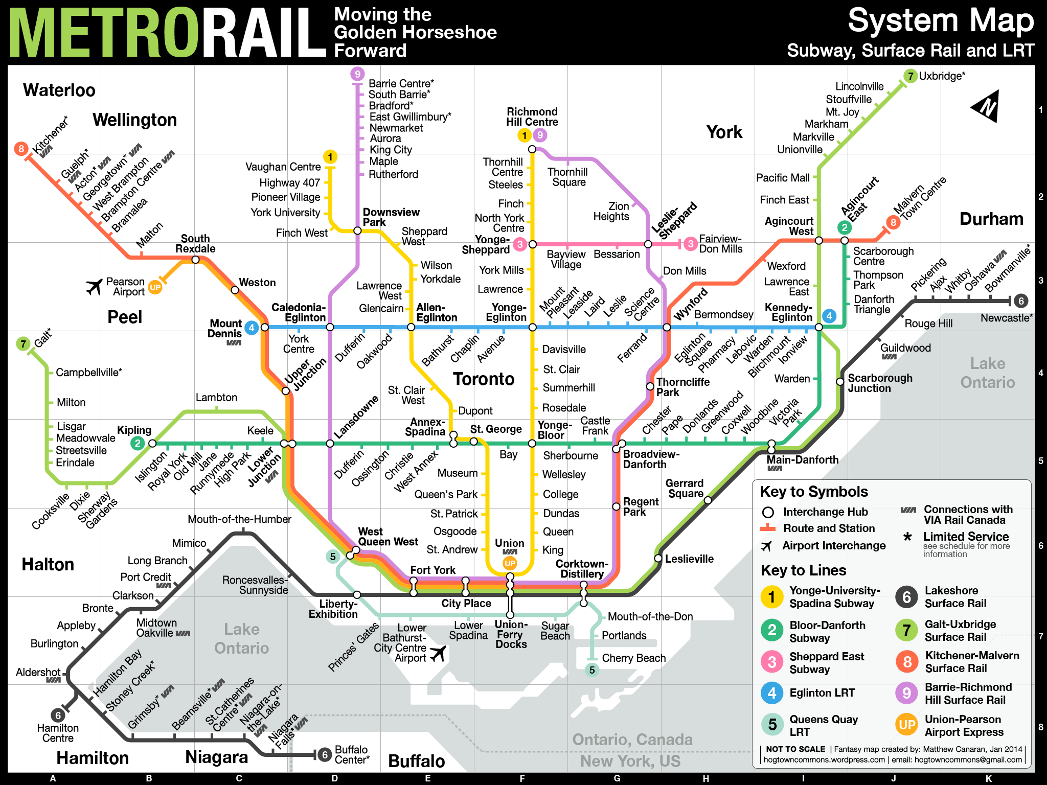 Toronto Subway Map.Fantasy Map Fuses The Ttc And Go Transit Toronto Fantasy Subway