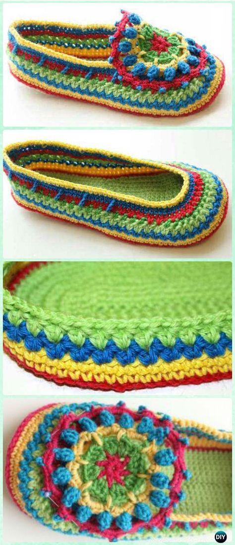 Crochet Bobble Flower Slipper Free Pattern - Crochet Women Slippers ...