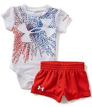 2ca89994 Under Armour Baby Girls Newborn-12 Months American Starburst Logo Bodysuit  & Shorts Set