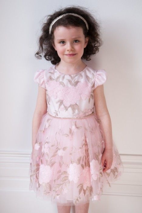 e9d989a5dee2 Pink and Bronze Floral Party Dress