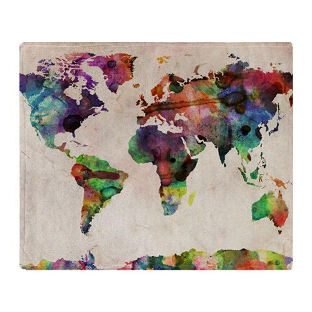 World map urban watercolor 14x10 throw blanket by admincp21786311 michael tompsett urban watercolor world map canvas art overstock shopping top rated trademark fine art canvas gumiabroncs Image collections