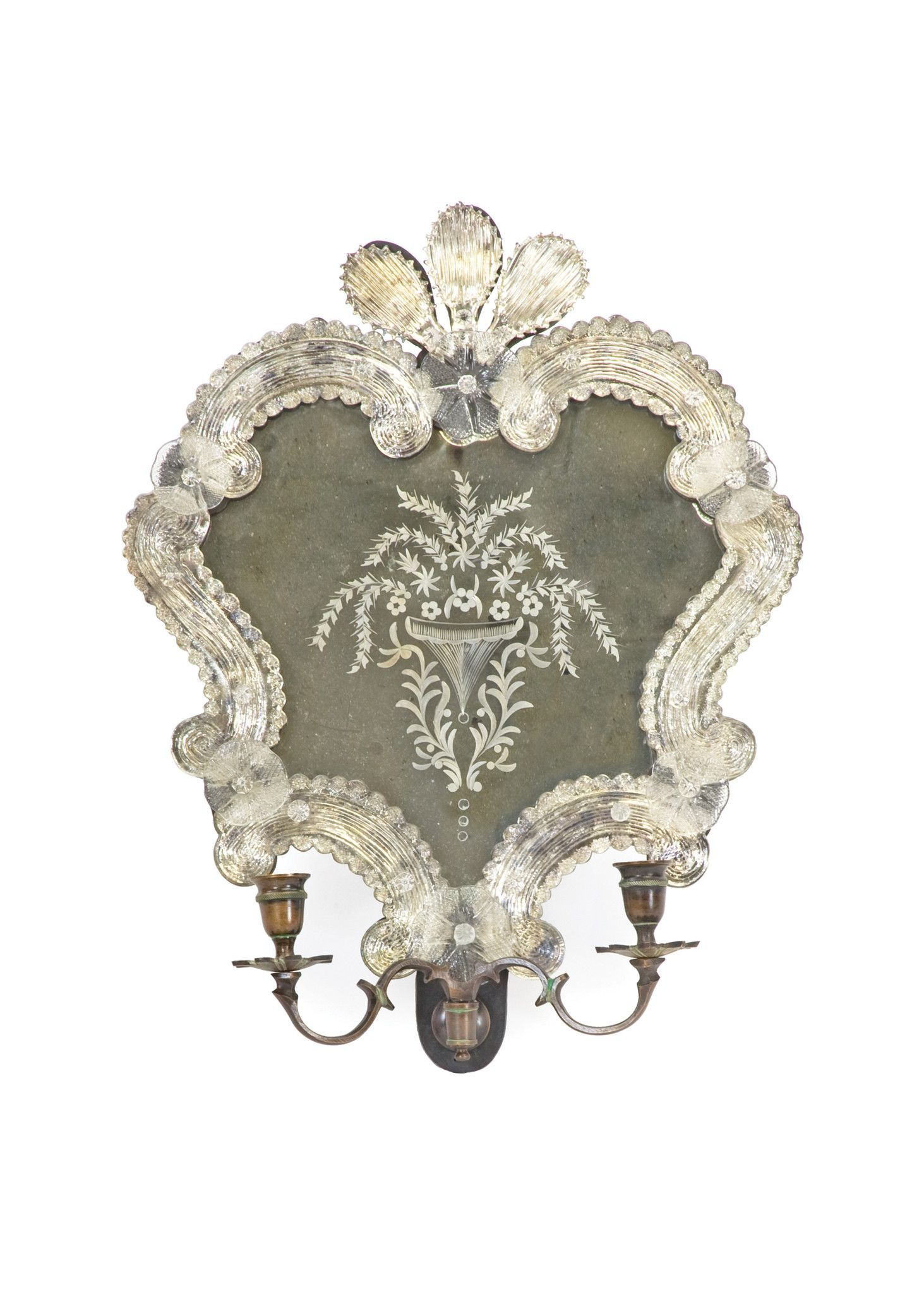 Bella Candle Sconce in Antique Brass and Glass