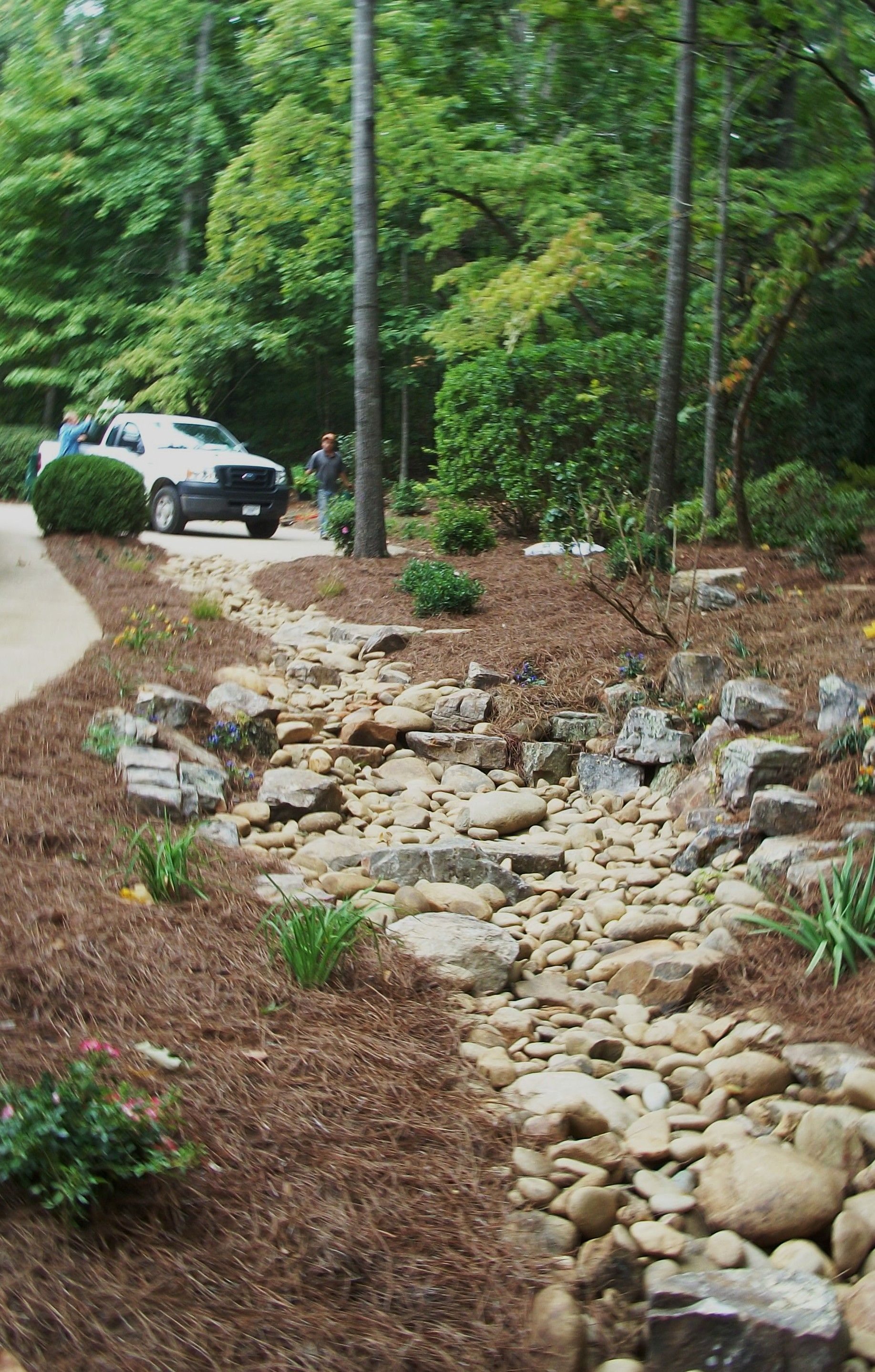 Landscaping Patios Walls Woodstock Canton Roswell Marietta Alpharetta Fall Landscaping Front Yard Landscaping With Rocks Dry Riverbed Landscaping