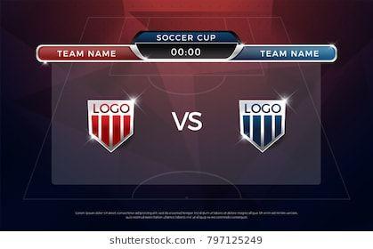 Football Scoreboard Team A Vs Team B Broadcast Graphic Soccer Template Football Score Graphic For Soccer Game Disenos De Unas