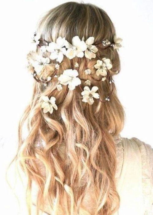 Floral hair wreath Long Flower crown halo flower headpiece garland White  Flower Crown Bridesmaid Flo 3cd5bec7db1