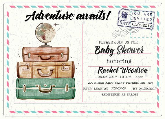 Adventure awaits travel baby shower invitation travel themed baby have an ocean of fun with this travel themed baby shower invitation adventure awaits this is digital invitation customized for your party filmwisefo