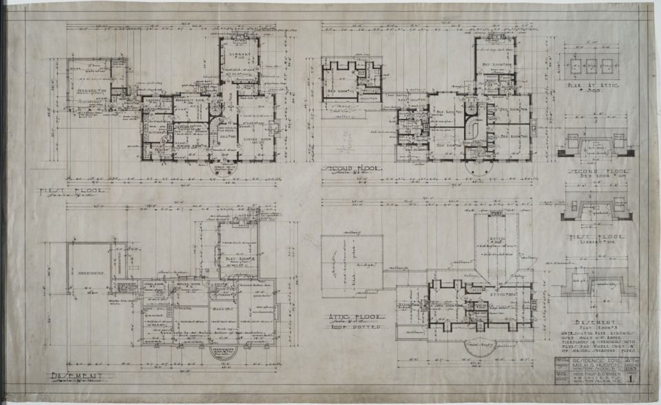 First Floor Plan Second Floor Plan Basement Plan Attic Plan H G Hudson House Winston Salem N C Mc002 Attic Renovation Attic Remodel Basement Plans