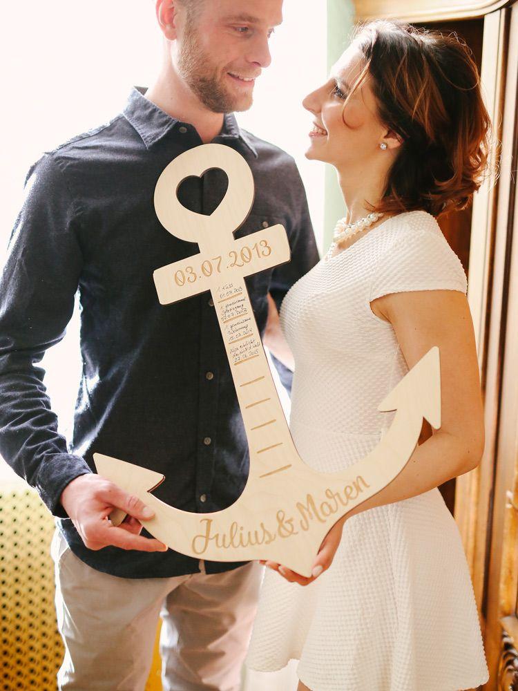 Dieser originelle und einzigartige Anker für verliebte Paare ist das perfekte Geschenk für deine(n) Liebste(n). Individuell personalisiert mit euren Namen. #dunklewände