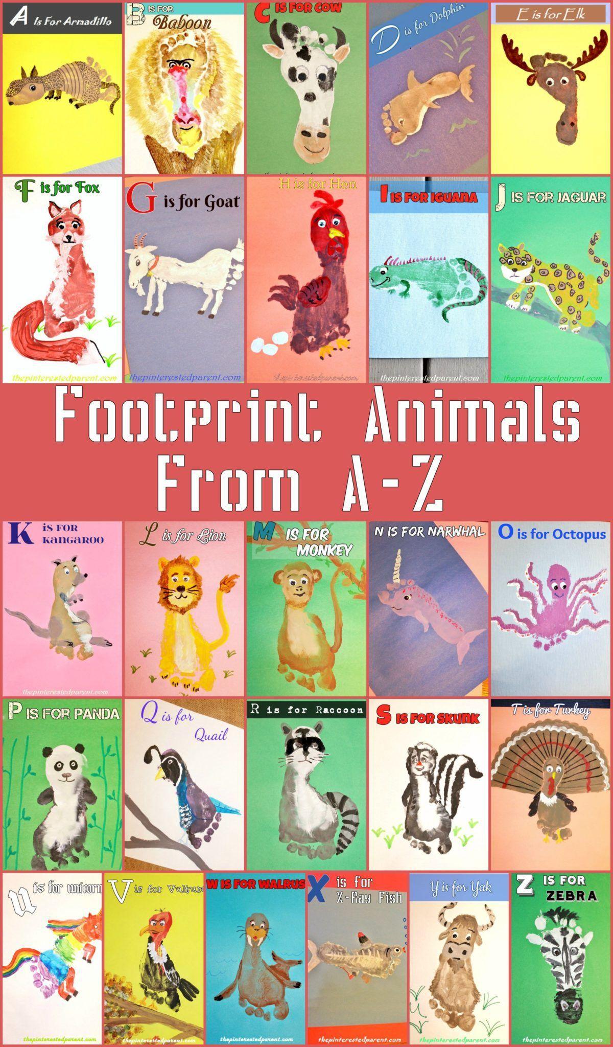A Z Footprint Animal Crafts Footprint Art Animal Crafts