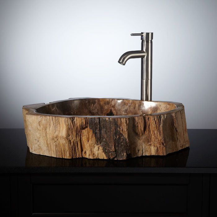 1369 00 Norwich Petrified Wood Vessel Sink With Oil Rubbed Bronze Drain