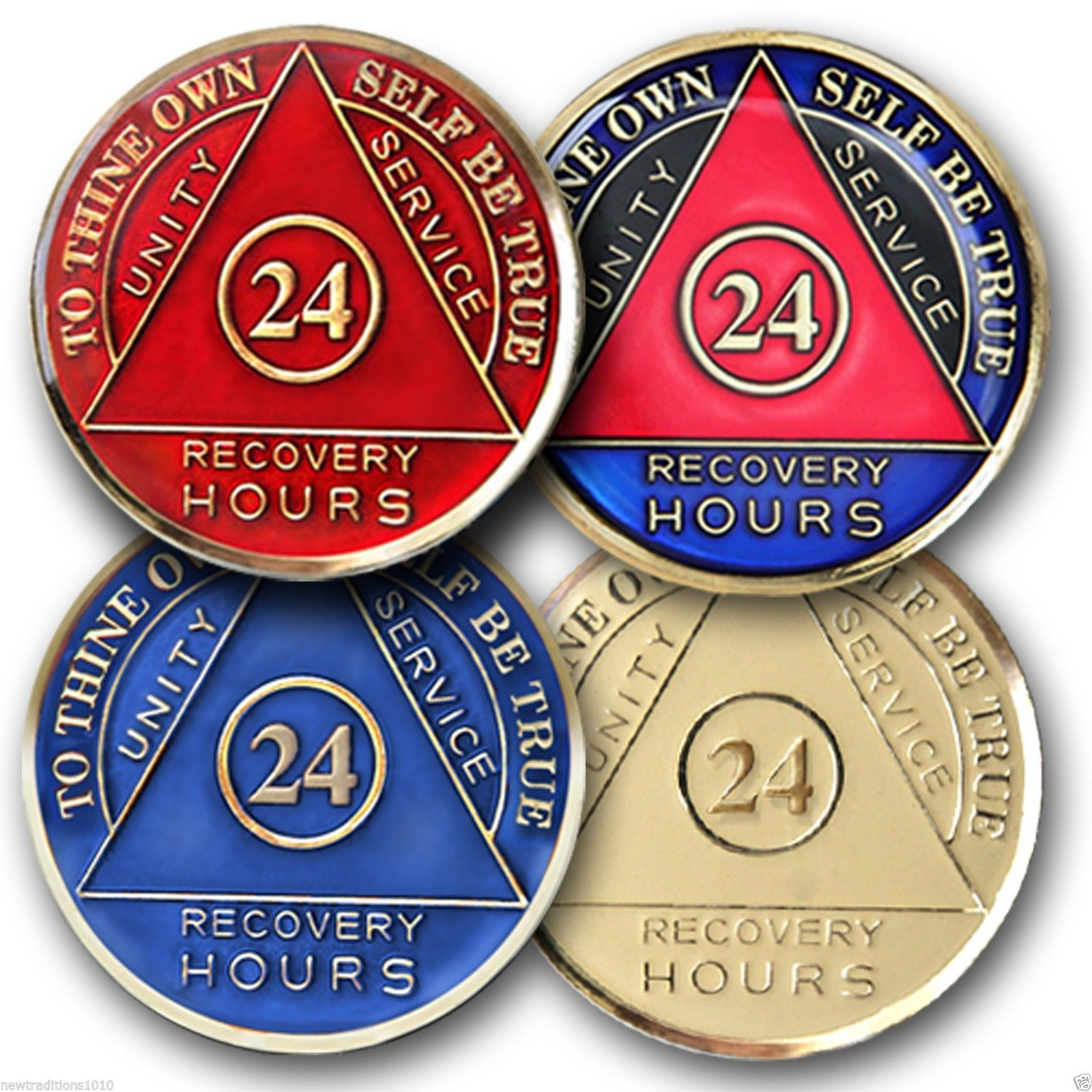 24 hour AA Sobriety Recovery Coin/Medallion  4 Colors Available!  Choose from:  Red, Ivory, Blue, Tri-color  The Serenity Prayer is on the reverse side with raised gold lettering.