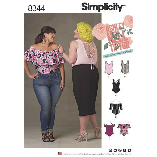 Simplicity Pattern 8344 Plus Size Knit Bodysuits by Ashley