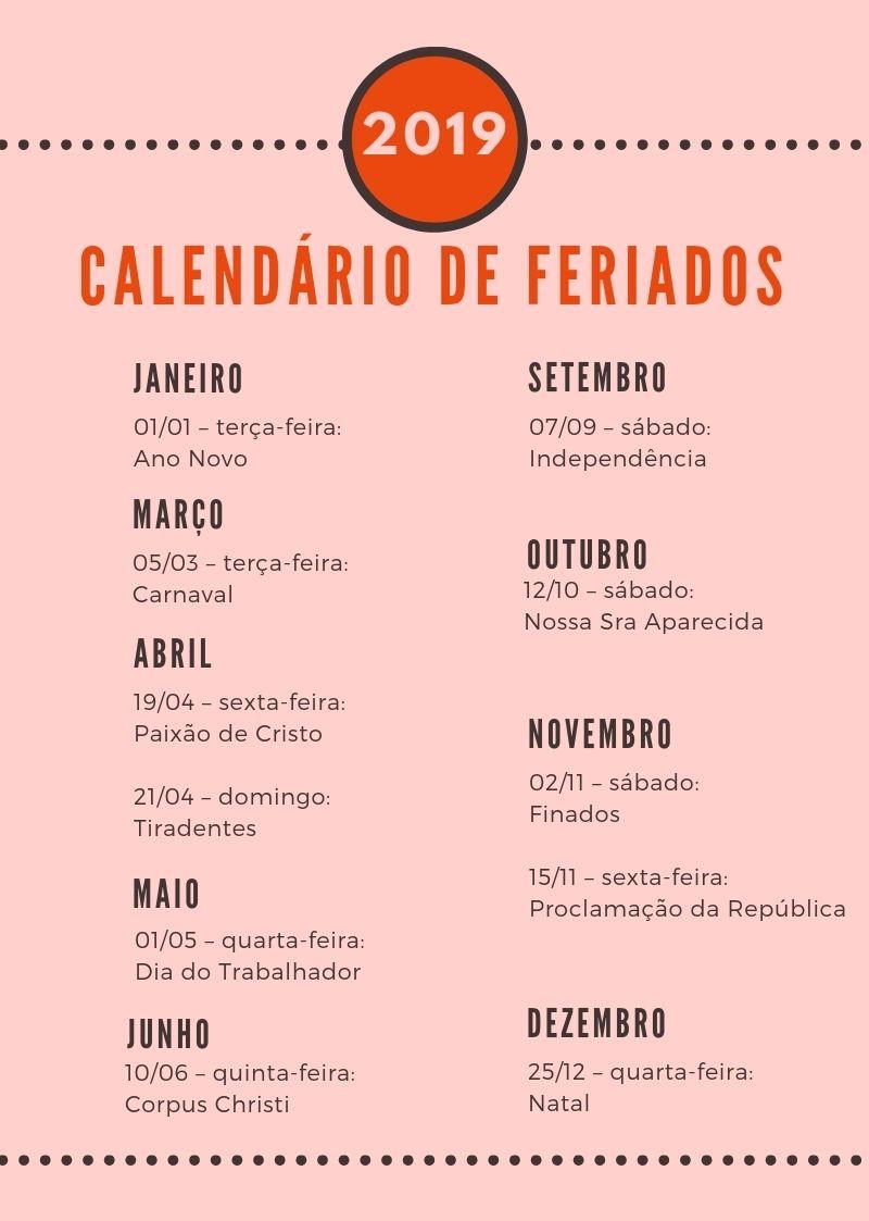 Feriados De 2019 Confira O Calendario Completo E Programe Suas