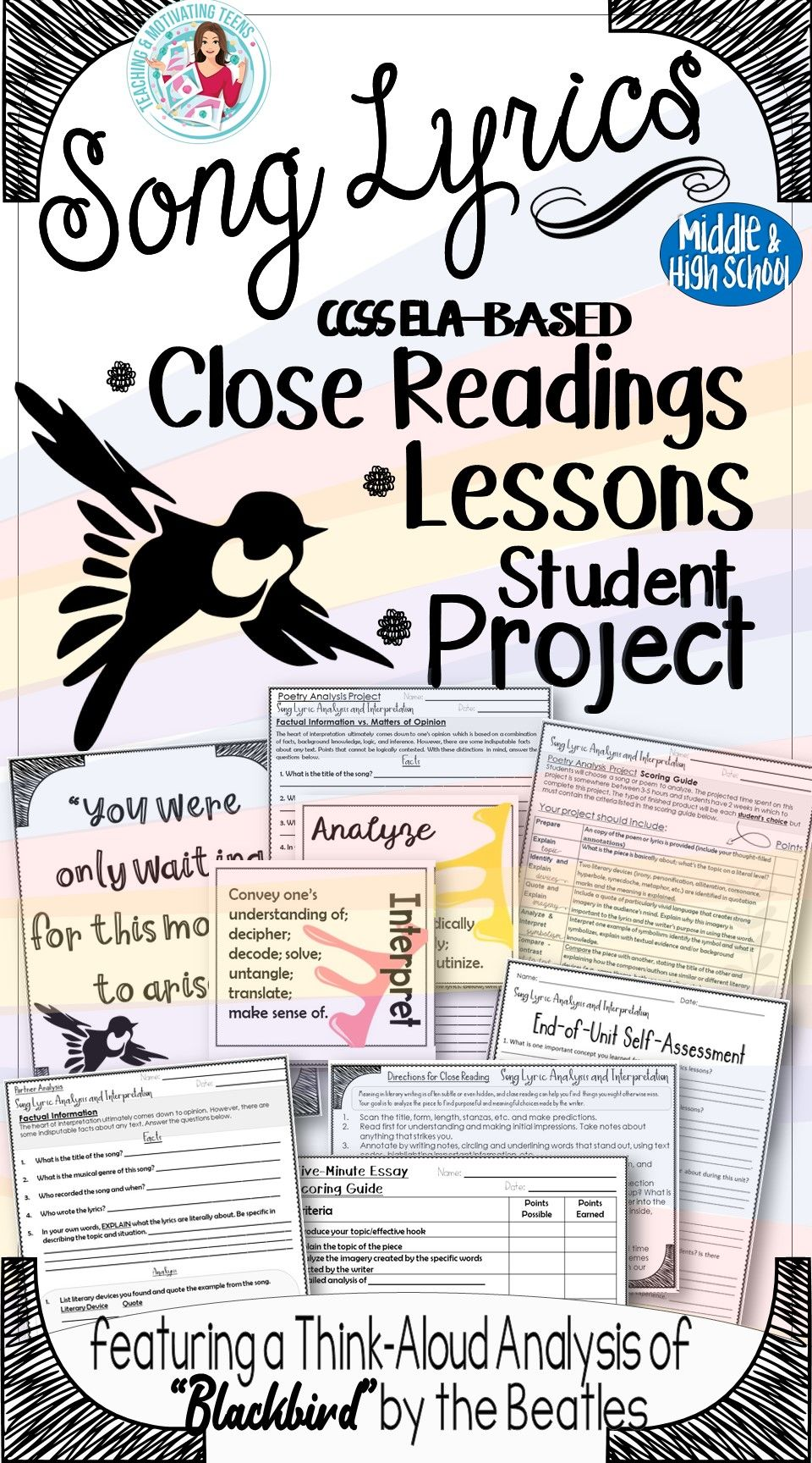 Your students will love the process of poetry analysis with these engaging and informative lessons based on song lyrics!