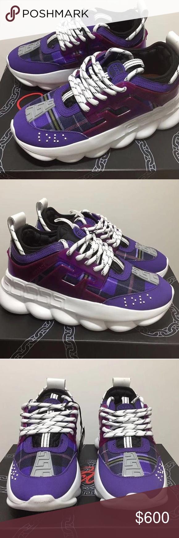 purple versace sneakers
