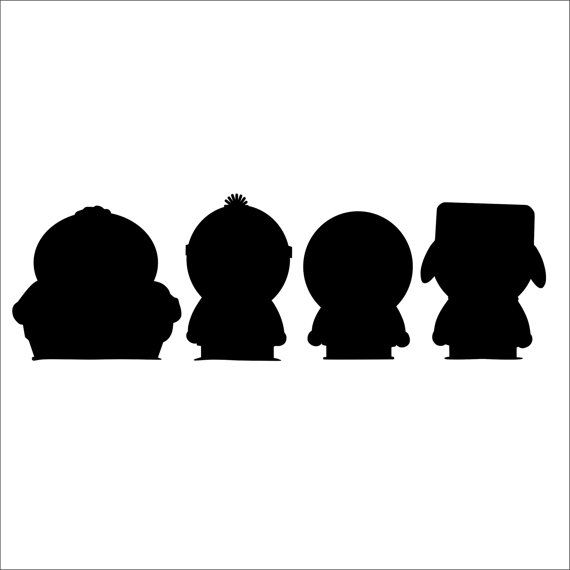south park characters silhouette vinyl decal 2 pack on etsy 5 00