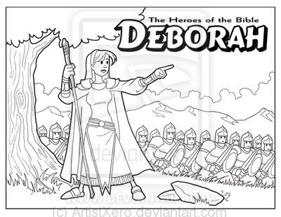 Deborah Leads Israel Coloring Page From Deborah The Prophetess