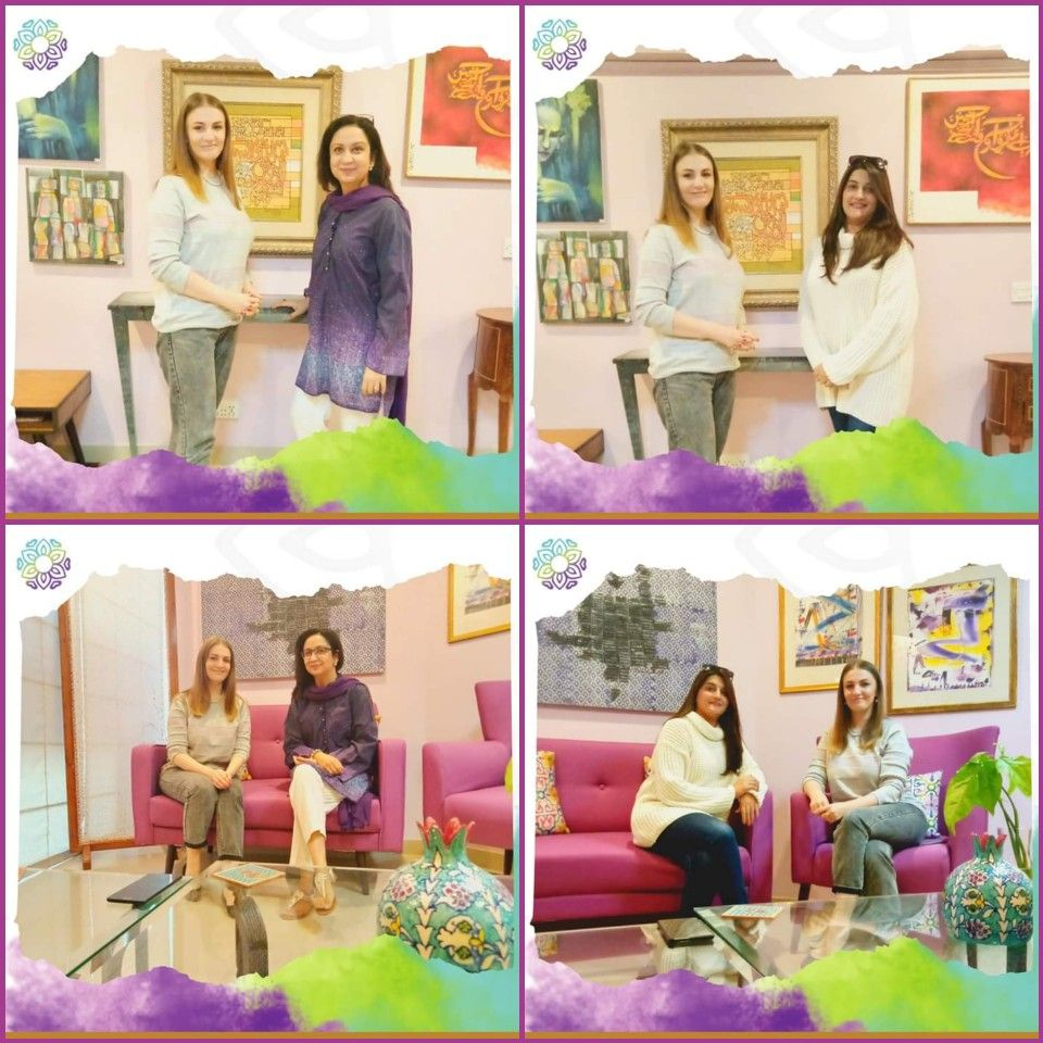 Anna Matronina Syed, ambassador Bruno Vassari Pakistan paid us a visit.  #lotsofcolours #handpaintedfurniture #paintings #books #furniture #letsenjoyart #peacenlove #artlovers #homedecore #homelovers #karachilife #meetandgreet #visitus #artsy #studio #art #funparay