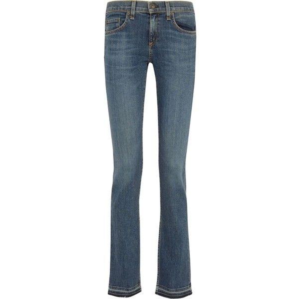 RAG & BONE Lottie low-rise frayed bootcut jeans ($145) ❤ liked on