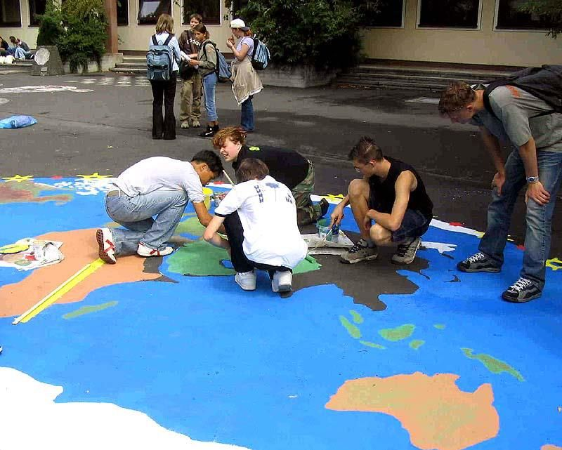 World paintings on the ground