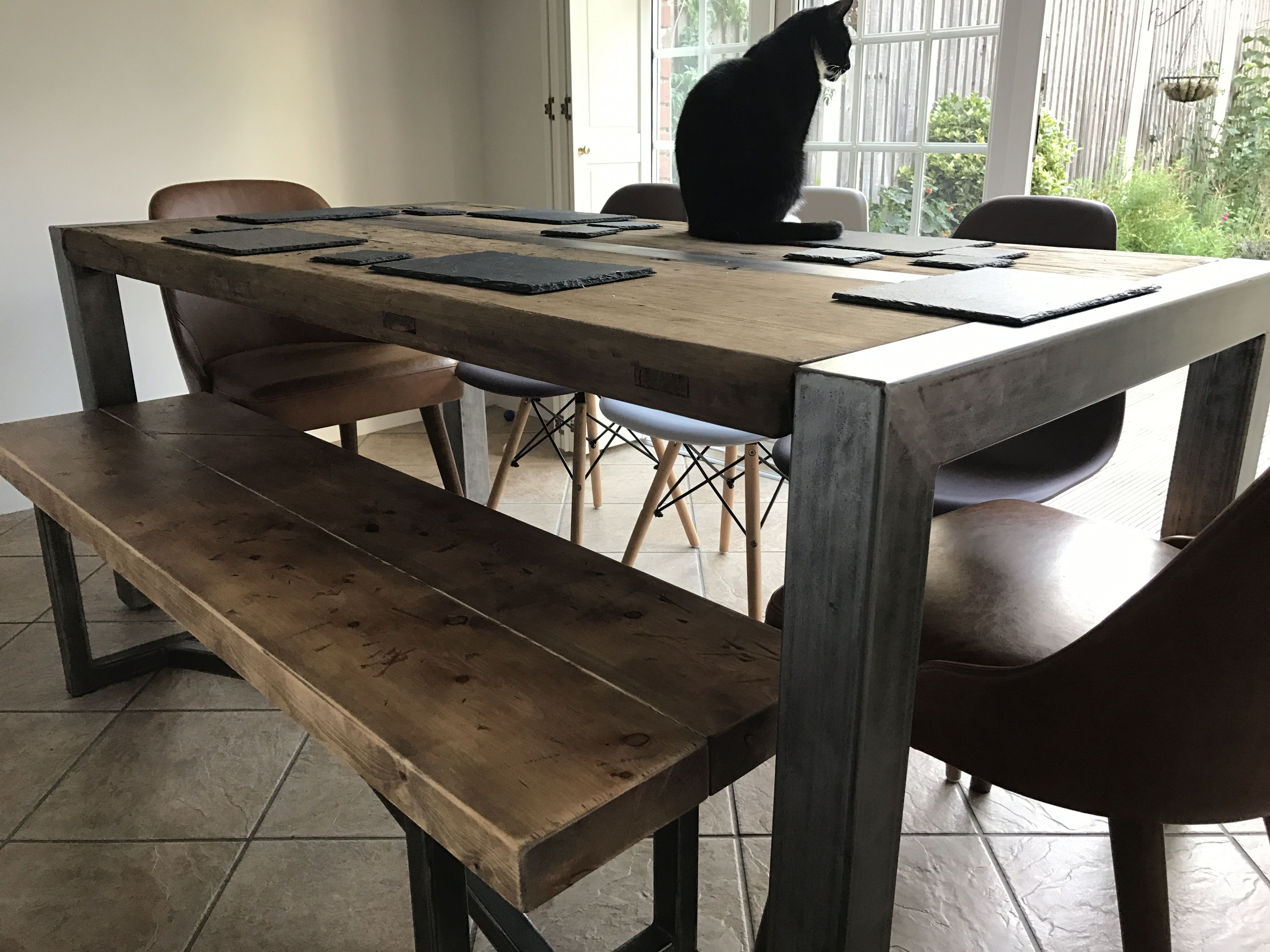 Industrial Style Dining Table And Bench  Wwwreclaimedbespokeco Alluring Industrial Style Dining Room Tables 2018