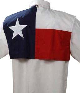 Texas Flag Fishing Shirt Short Sleeve 52 48 polyester cotton poplin. Texas  Star applique on back. This fishing shirt is a light 4.2 Oz. 8df388164