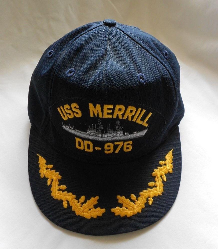 141bab613a831 Navy Blue USS Merrill DD-976 Ball Cap Ship Embroidered Hat  Cap10   BaseballCap Sold