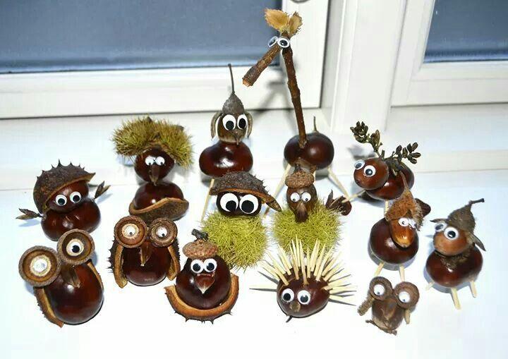 Süße Kastaniendeko DIY für Klein und Groß. Gefunden bei Mikael Schenk #kastaniendeko