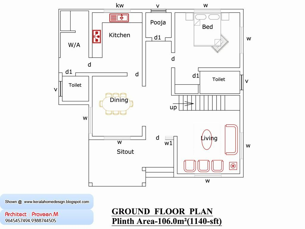 1500 Sq Ft House Plans In India Free Download 2 Bedroom 1200 Square Foot Home Plan And Elevation 1 Home Design Floor Plans Bedroom House Plans 1500 Sq Ft House