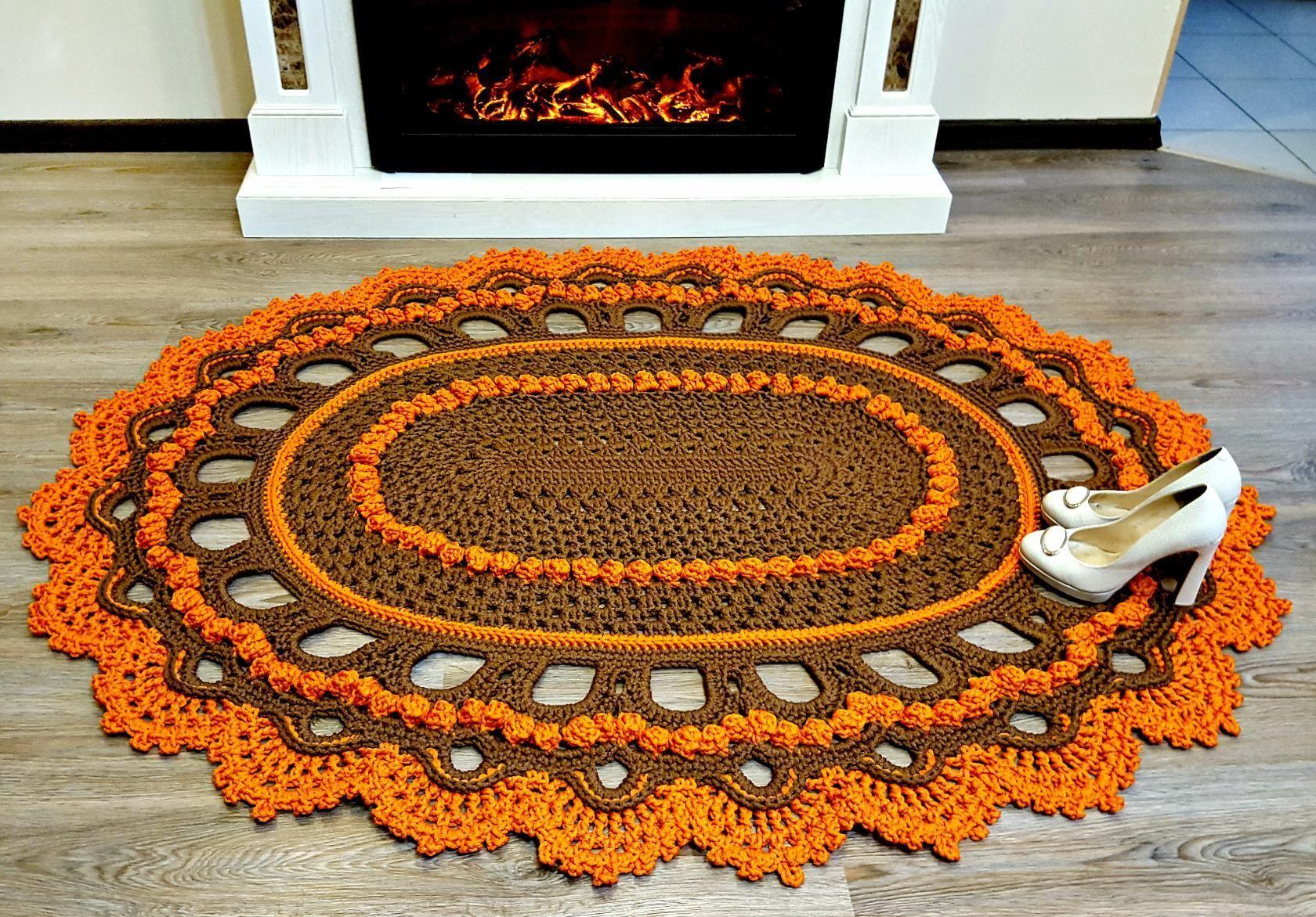 Картинки вязание крючком коврик