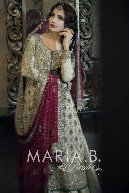 fa7fedd2a Loving Maria B; Option Ranking - 1 ; style of dress -- 1 ; Event -- shaadi  ; Price: idk ; Color: magenta dupatta - 1, white dress - 1 but would modify  ...