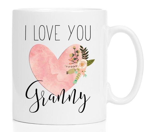 Valentine Granny Mug I Love You Granny Gifts Heart Granny Mug Pink Granny Coffee Mug Granny Custom Mugs Mugs Granny Gifts