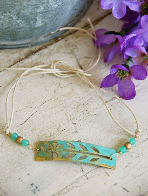 In my garden. floral brass patina charm string bracelet. tiedupmemories via Etsy