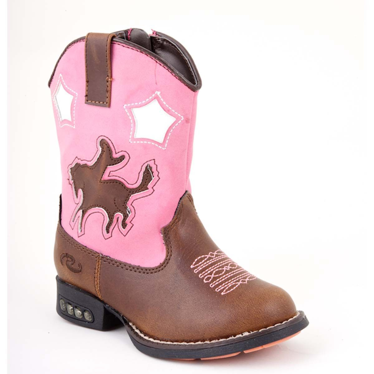 3e0e114bd07 Roper Baby Girls Infant Western Lighted Brown Brown Faux Leather ...
