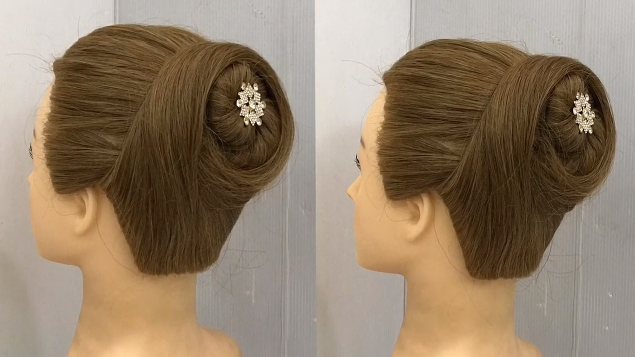 One Minute Bun Hairstyle For Party High Bun Hairstyle With Gown Easy Hairstyles Tips Video Hairstyles For Gowns High Bun Hairstyles Bun Hairstyles