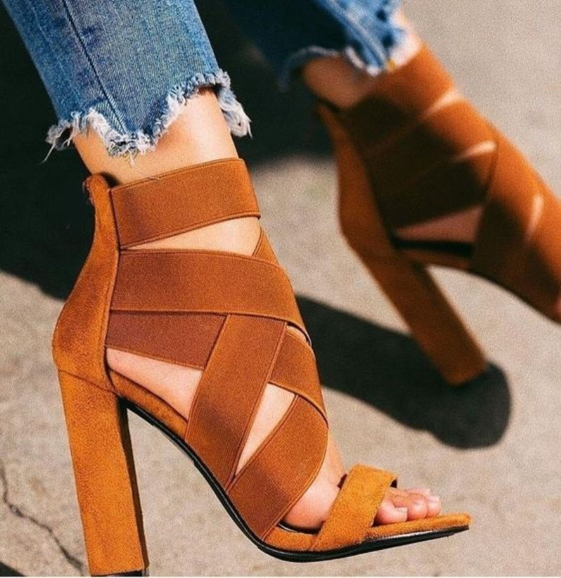 Brown Bandage Gladiator High Heels Sandals