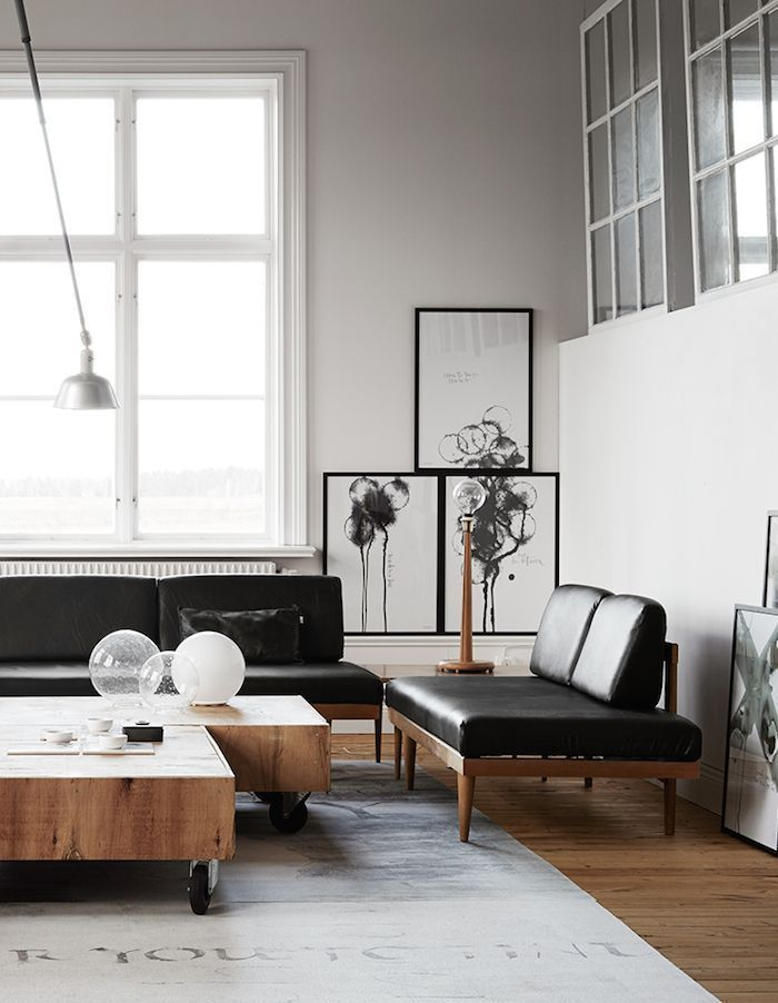 Chic black couches in living room m