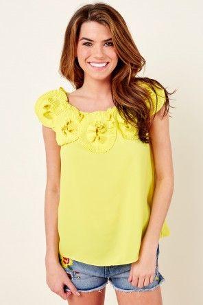 Somewhere Sunny Yellow Top at reddressboutique.com