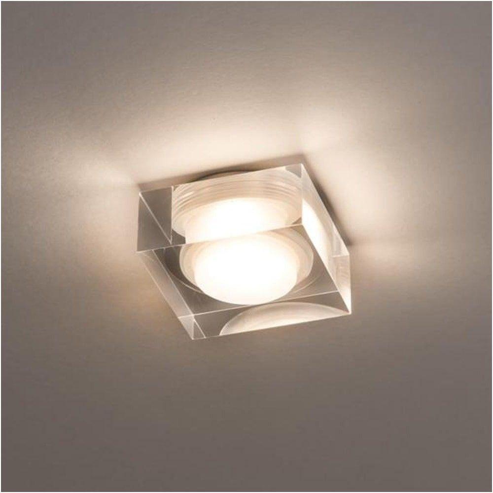 Astro Vancouver Square White Glass Flush Bathroom Ceiling Light - Bathroom overhead lighting