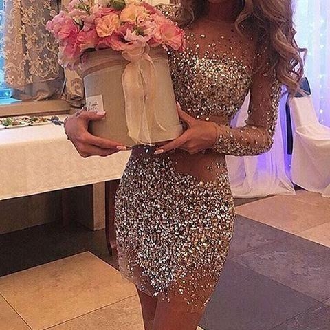 Sexy rhinestone sequins round neckline deep long illusion sleeve sheath mini  homecoming dress dd7130b20e04